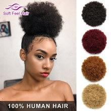 Накладные волосы в виде конского хвоста afro puff курчавые волнистые