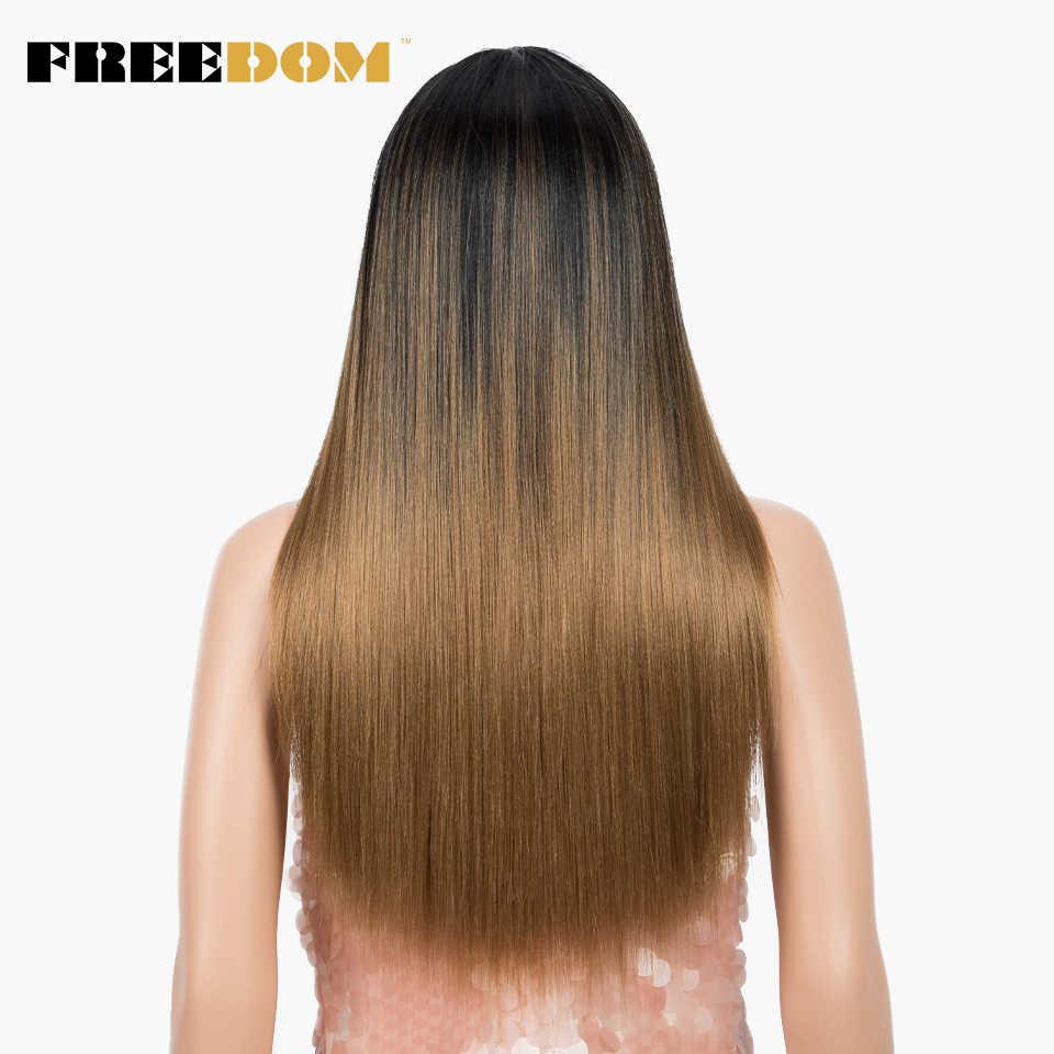 Свободный косплей парик синтетический парик 22 дюйма длинные прямые синтетические парики Омбре блонд парик с челкой парики для черных женщин