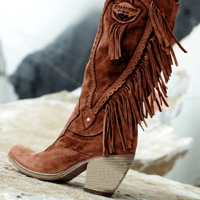 2019 kobiet w stylu etnicznym Mid Tube wysokie obcasy stylowe ciepłe futrzane buty na niskim obcasie buty zamszowe długi frędzel zimowe haftowane buty
