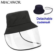 2020 New Detachable Protection Anti Dust Bucket Hat Women Visor Hat Female Anti fog Sun Caps Men Outdoor Windproof Cap M005