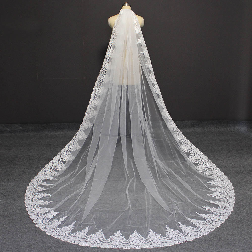 Real Photos Long Lace Wedding Veil High Quality Lace Bridal Veil with Comb 3 Meters One Layer Bridal Veil Wedding Accessories