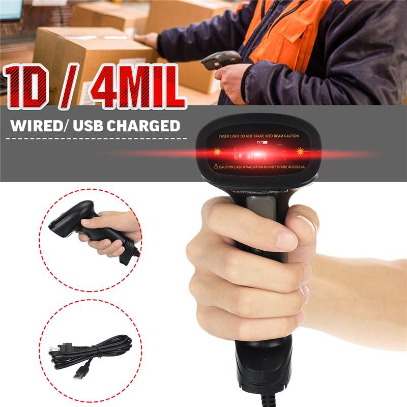 Handheld 1D Barcode Reader CCD USB Wired USB Automatic Barcode Scanner Anti Shock Scanner|Scanners| |  - title=