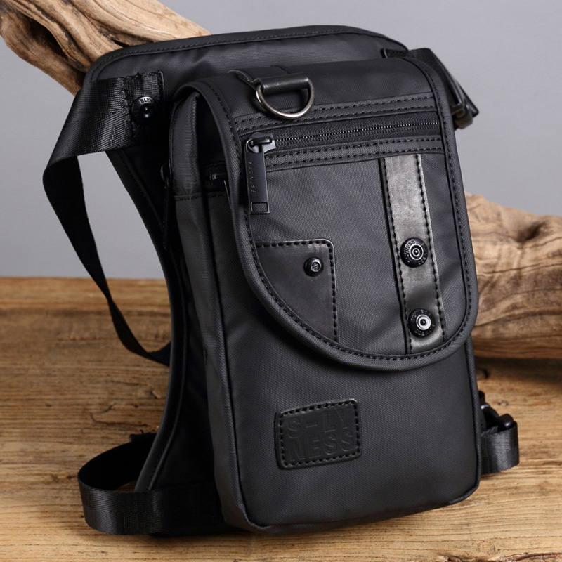 Motorcycle Rider Fanny Drop Leg Bags Messenger Shoulder CrossBody Bag Bum Hip Belt Pouch Waterproof Nylon/Canvas Men Waist Pack