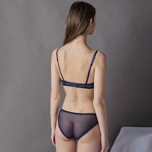 Image 2 - Acousma 女性ブラジャーのレースの刺繍ブリーフパンティセット超薄型セクシーな下着透明なパンティーランジェリーブラジャーシースルー