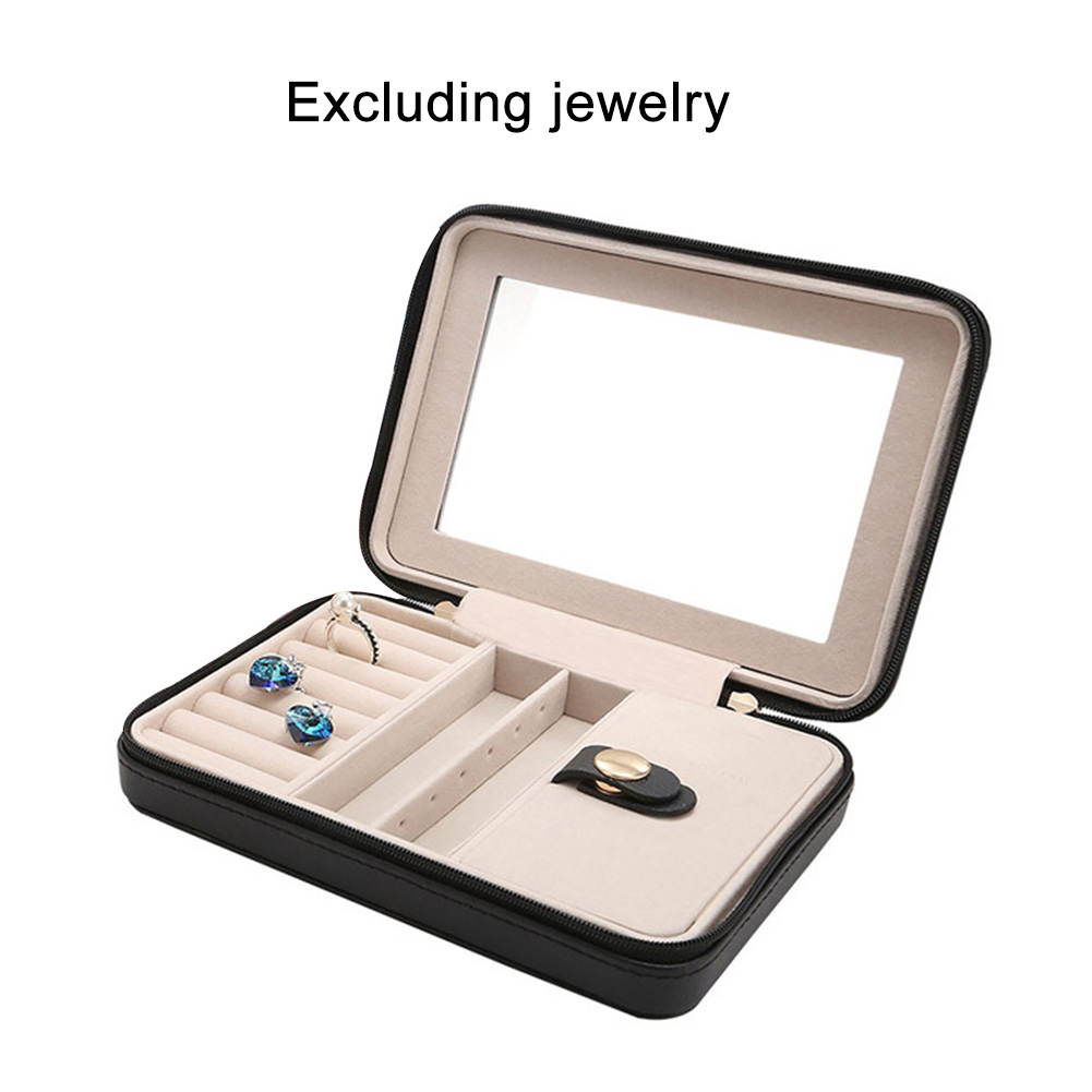 Small Organizers Travel Portable Women Zipper Storage PU Leather Cases Display Jewelry Box With Mirror Black Gifts