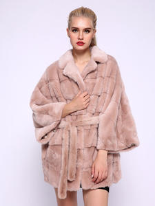 Coat Real-Fur-Coat Natural JEPLUDA Winter Women New Warm Thick Two-Types-Collars Bat-Sleeved