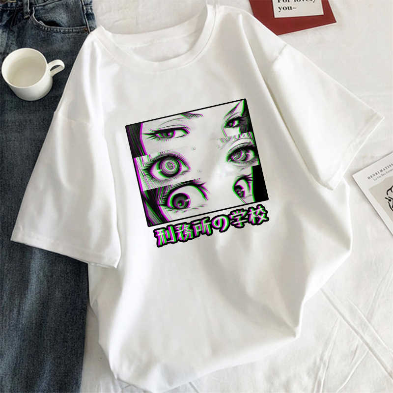 Women's Tops Are You Afraid Of The Dark Japanese Casual T-shirt Harajuku Dark Anime Print Aesthetic White Summer Women T-Shirt