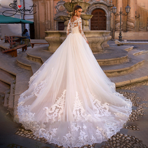 Image 2 - BAZIIINGAAA Luxury Long Sleeve Mermaid   Detachable Mermaid Tail 2 in 1 Lace Wedding Dress