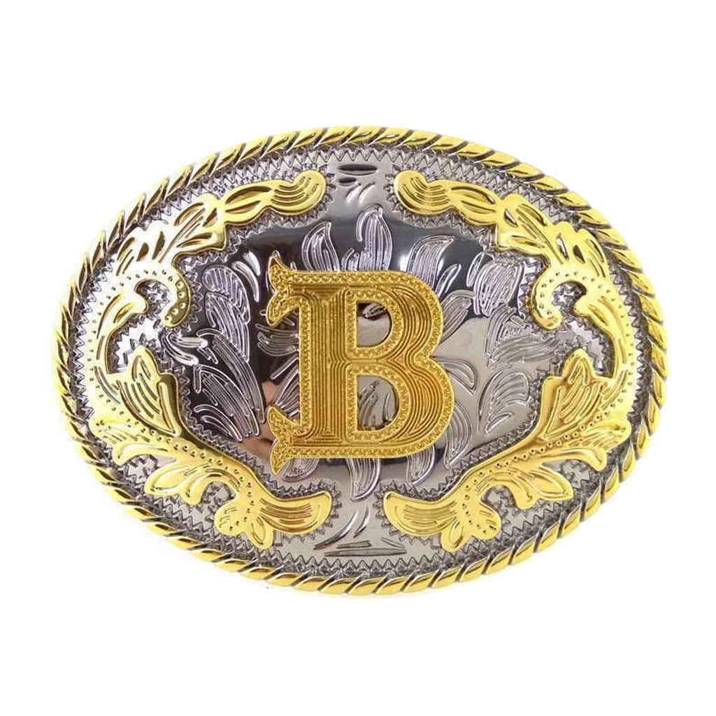 Letter B Belt Buckle Arabesque Flower Pattern Metal Fashion Rock Western Cool Gold Man Belt Buckle Jeans Accessory