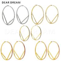 5 color Classic Brand Letter Big Hoop Earring Jewelry Silver/ Gold/ Pink/ Rose red/ Black Beautiful Earring Jewelry