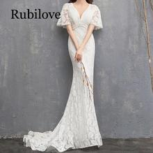 Rubilove Fishtail dress 2019 new was thin white trailing princess dream Mori light