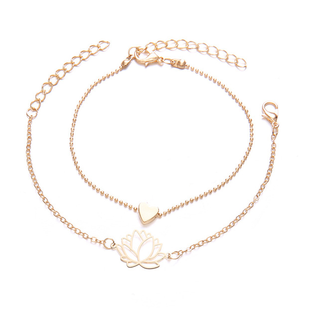 2Pcs/Set Rinhoo New Simple Female Personality Hollow Lotus Gold Bracelets Christmas Bangle Gift for Women Classic Trend Jewelry