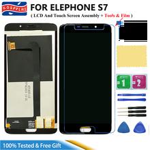 100% اختبار ل Elephone S7 شاشة الكريستال السائل و مجموعة المحولات الرقمية لشاشة تعمل بلمس جديد استبدال لوحة إصلاح أدوات فيلم