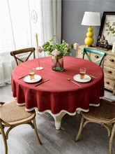 Lanke  Linen Table Cloth Round Waterproof Oilproof With Tassel , Dining Tablecloth for Home Christmas Birthday Party