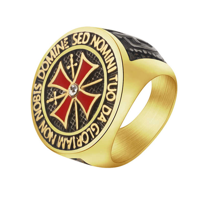 Knight Premium Cross Ring Jesus Mannelijke Goud Zilver Ring Mode Hip Hop Retro Rode Ring voor Mannen Rvs Punk pasen Gift