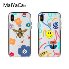 INS Korea super fire simple smiley face phone case For iphone Xs max Xr Xs X 6 6s 7 8 plus color flower bee clear soft TPU Cover aertemisi ins korea super fire candy color bear phone case for iphone xs max xr x 6 6s 7 8 plus cute wave point clear soft tpu