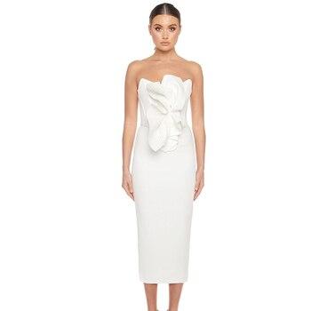 Ocstrade Runway New Fashion Ruffled White Bandage Dress 2020 Women Strapless Midi Bodycon Evening Party