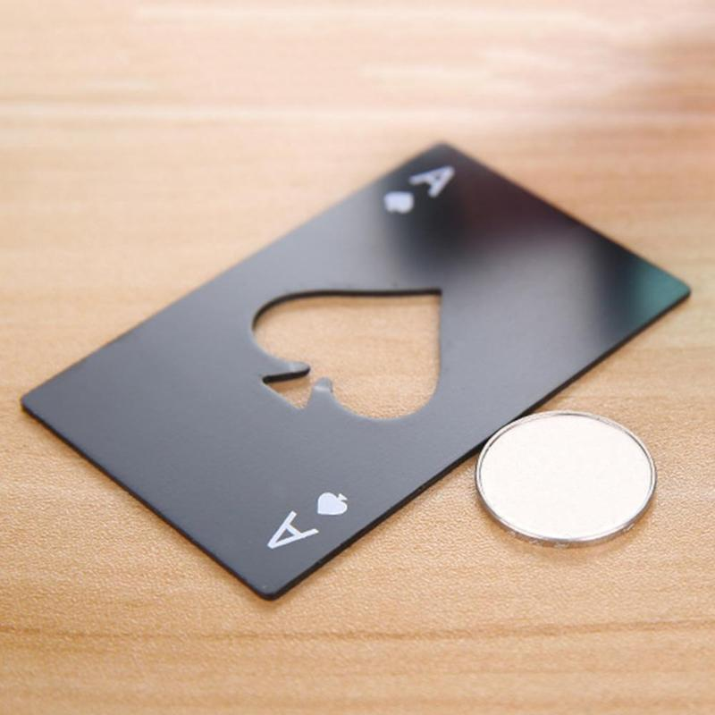 2019NEW Black Poker Card Beer Bottle Opener Personalized Stainless Steel Spade Card Bottle Opener Kitchen Bar Tool
