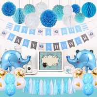 Baby Shower Decorations for Boy Elephant Theme It's A Boy Party Decor With Baby Elephant Balloons Blue Boy Shower Banners