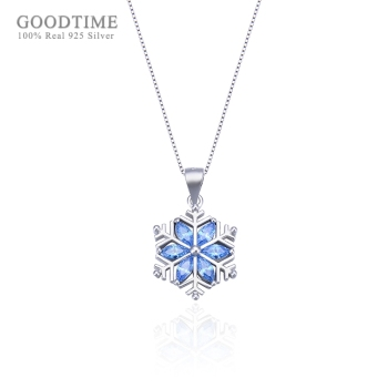 Fashion Women Pure 925 Sterling Silver Necklace Crystal Necklace Creative Snow Clavicle Blue Zircon Chain Necklace Gift For Girl