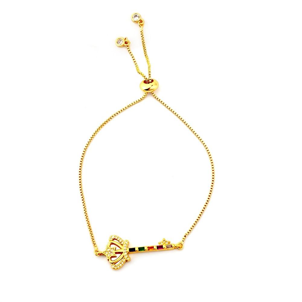 Горячее золото циркония браслет и браслет женский Радужное покрытие браслет Роскошный Регулируемый сердце злой глаз змея цепь браслет - Окраска металла: BRB60-B