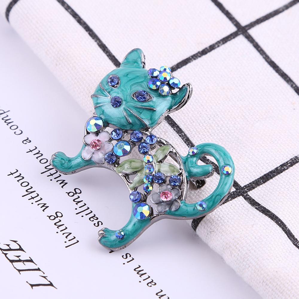 Cute Cat Shape Enamel Brooch Pin Women  Pretty Rhinestone Fashion Jewelry Gift