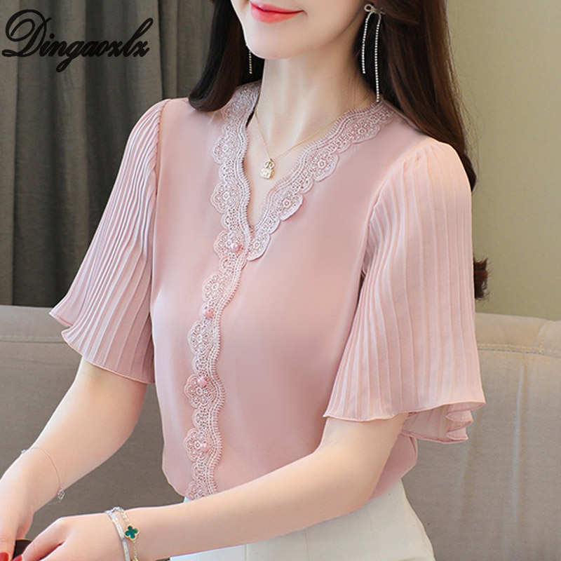 S-3XL Summer 2021 New Chiffon shirt Flare sleeve Lace Tops V-neck White Casual Women blouse Plus size Women Women's Blouses Women's Clothings