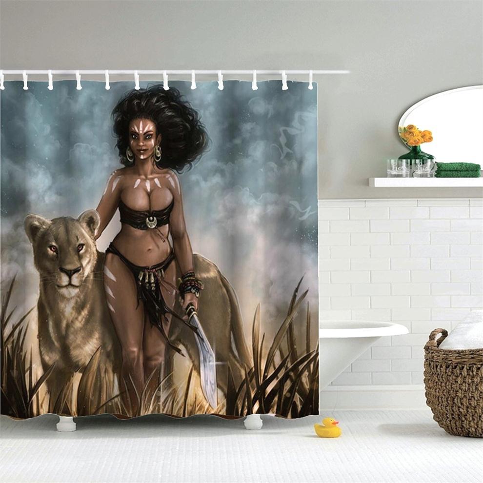 Mulher com Leopardo Selvagem à Prova Cortina de Chuveiro Dafield Sexy Afro Americano Dwaterproof Água Poliéster Banheiro Africano Design