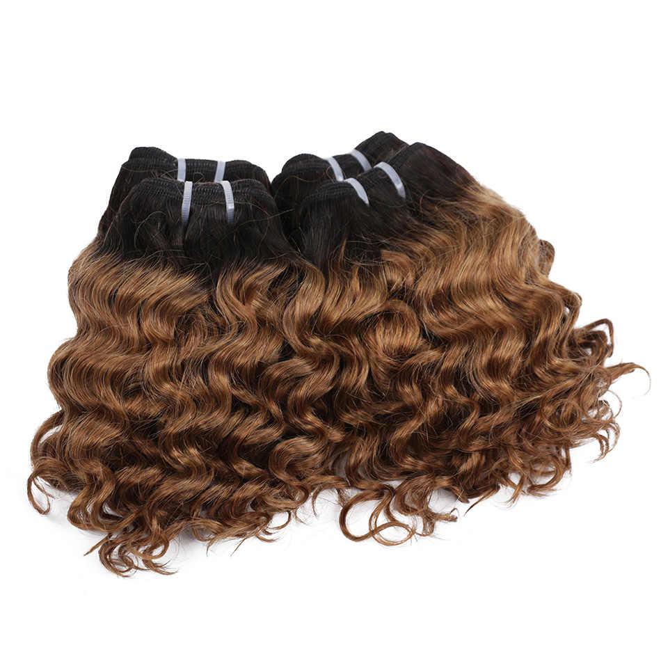 """Echt Schönheit Tiefe Welle Ombre 1B/27 Remy Menschliches Haar Bundles 50g Zwei Ton Honig Blonde 8 """"kurze Bob Stil Brasilianische Haarwebart"""