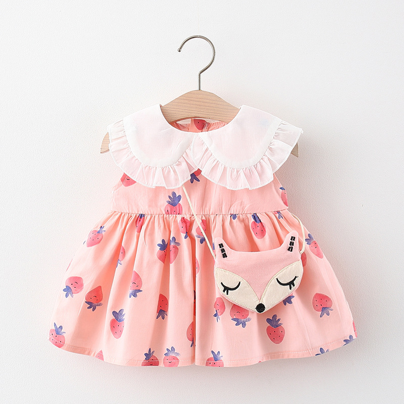 Melario Baby Girl Dress New Summer Kids Costume Strawberry Print Princess Dress With Cute Fox Pendant Infrant Baby Clothes