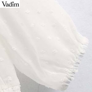 Image 3 - Vadim נשים אלגנטי לבן קצר סגנון חולצה שלושה שרוול רבעון נשי מזדמן חולצה לראות דרך ראפלס חולצות blusas LB744