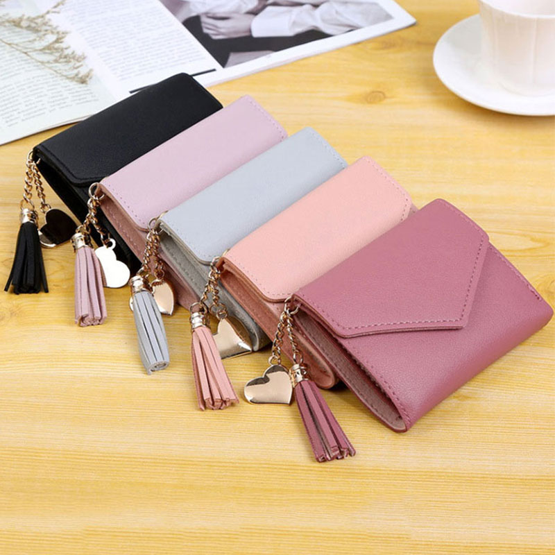 Fashion Short Solid Women Cute Tassel Pink Wallet Pocket Purse Credit Card Holder Ladies Love Pendant Money Bag For Female