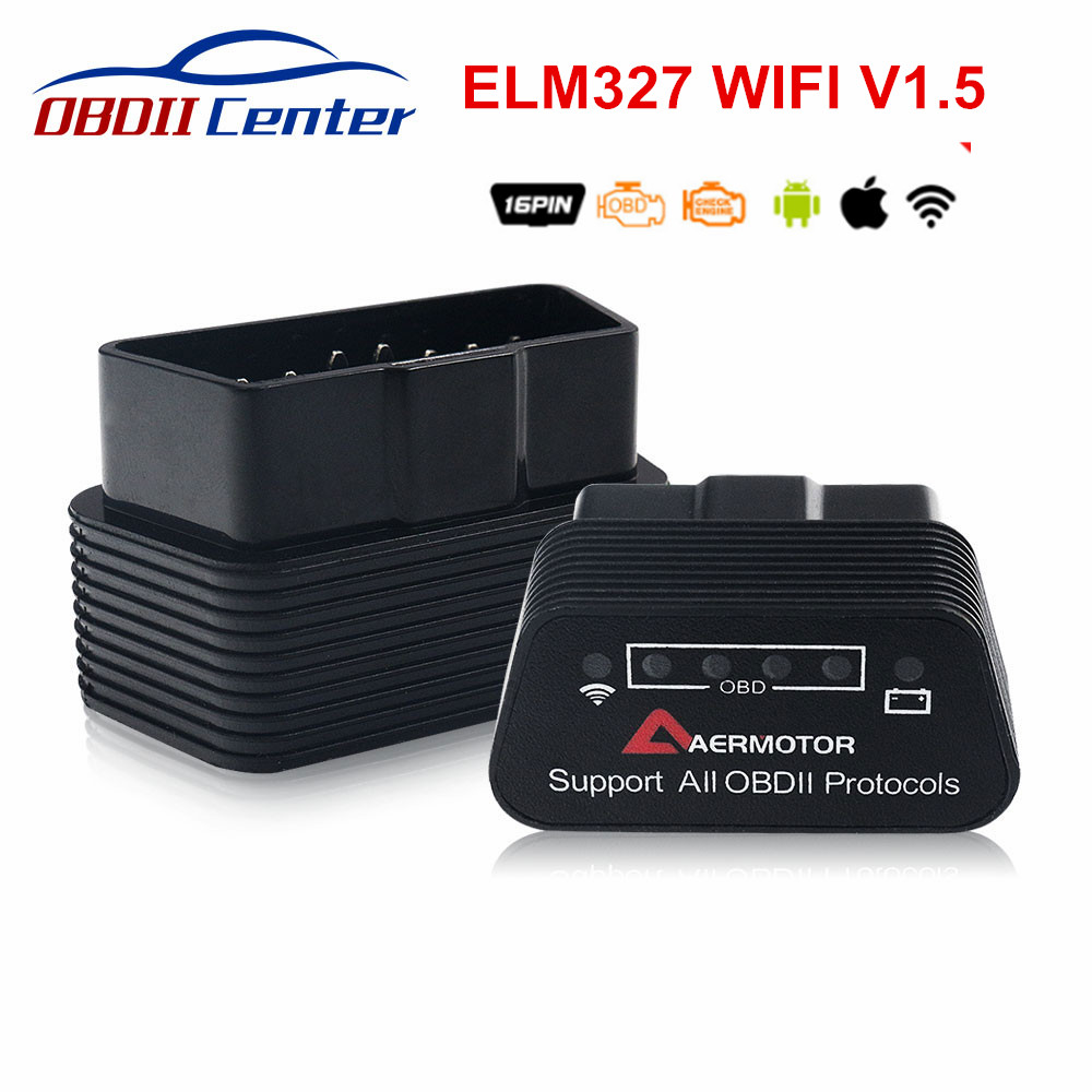 AERMOTOR Wifi/Bluetooth 4.0 ELM327 1.5 Auto Diagnostics Scanner ELM 327 OBDII V1.5 IOS Android Interface For OBD II Protocol Car