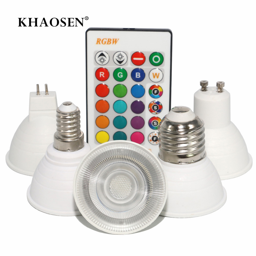 E27/E14/GU10/GU5.3/MR16 16 Color Changing Magic Led Bulb 3W 85-265V RGB Led Lamp Spotlight + IR Remote Control Bulbs 110V 220V