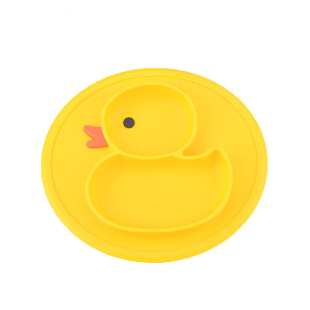 Kitchen Silicone Mattress Yellow Duck Tableware Integrated Mattress Plate Compartments Infant Supplementary Box
