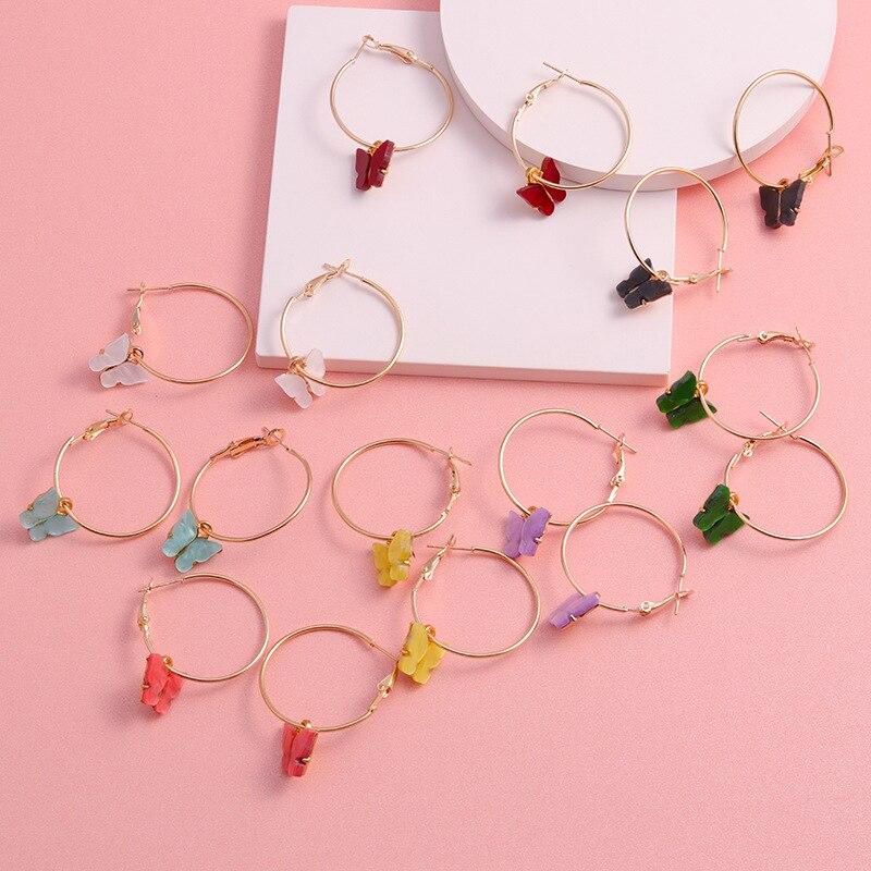 Butterfly Earrings Fashion Jewelry Dangle Hoop Brincos Metal Party Vintage Korea Women