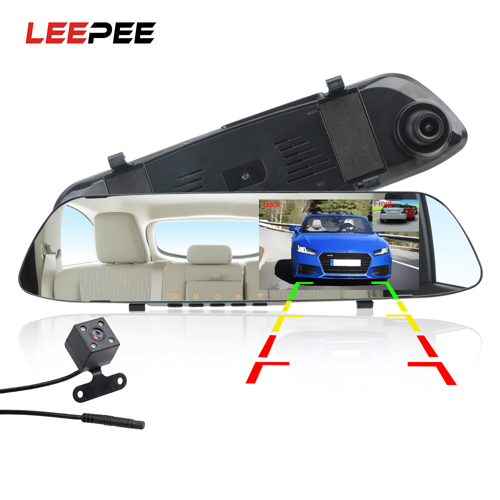 LEEPEE Car DVR Dash Camera Dash Cam 4.3'' Car DVR Mirror Dual Len HD 1080P Rear View Camera Rearview Dashcam Auto Recorder Video