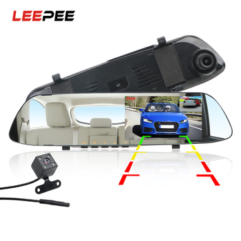 LEEPEE Car DVR Dash Camera Dash Cam 4.3'' Car DVR Mirror Dual Len HD 1080P Rear View Camera Rearview Dashcam Auto Recorder Video dash camera junsun h9p