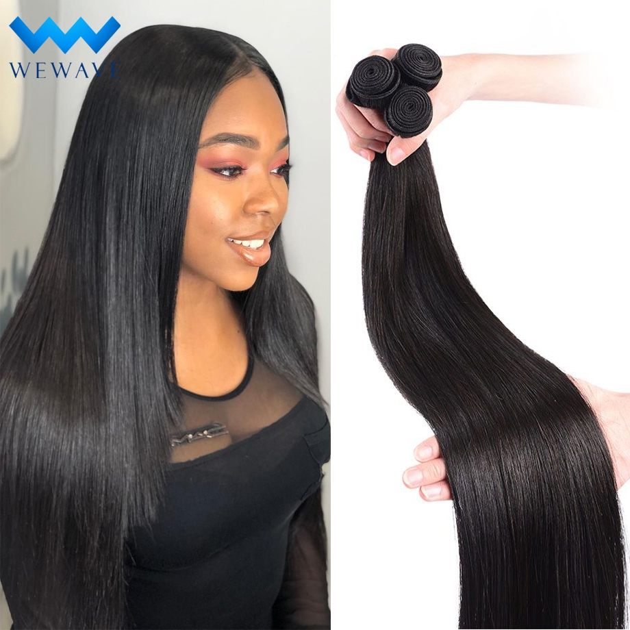 Brazilian Human Hair Weave Bundles 30 Inch Straight Natural Short Long Virgin Hair Extension For Black Women 1 3 4 Bundles