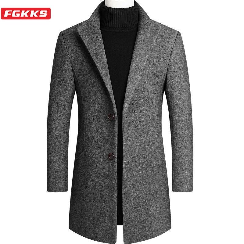 FGKKS Men's Camel Wool Coat Autumn Winter Trench Coat Korean Casual Blazer Solid Color Mid-Length Wool Blends Mens Coats 4xl