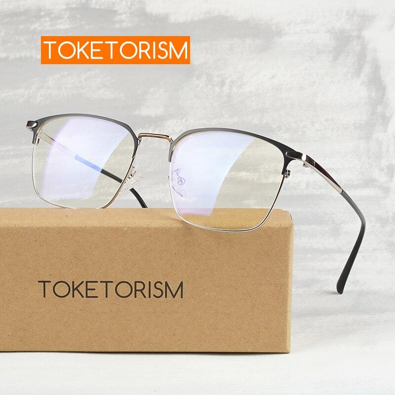 Toketorism Metal Square Eyewear Frame For Nearsighted Men Women's Prescription Glasses 5513