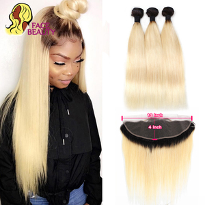 Image 1 - Facebeauty 1B 613 Dark Root Blonde Ombre Brazilian Remy Straight Hair 3/4 Bundle with 13x4 Lace Frontal Closure Free Middle Part
