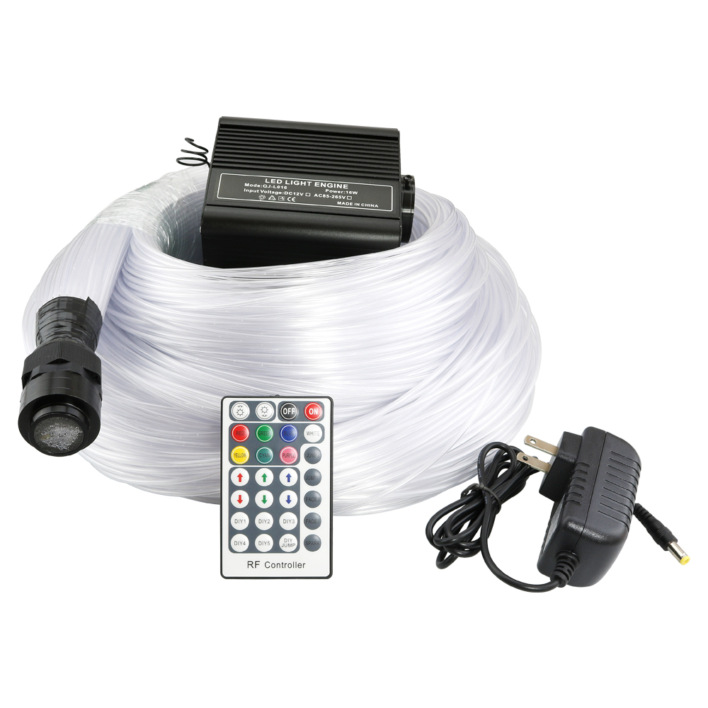 16W RGBW Sensory Fiber Optic Kit With 100pcs 3*0.75mm *2M /3M Tube Fiber With 28key Remote Control