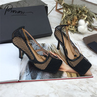 Prowow Fashion Sexy Air Mesh Metal Chain Women Pumps Sexy Square Toe Thin High Heels Ladies Party Wedding Pumps Shoes Women
