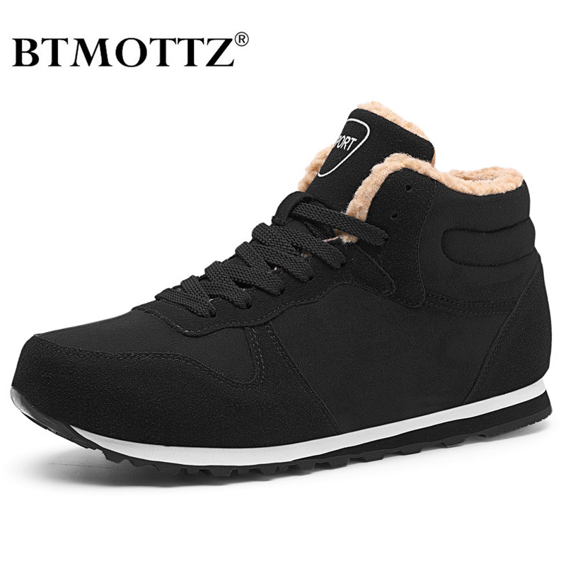 Suede Leather Men Boots Winter With Fur Super Warm Snow Boots Men Winter Work Casual Shoes Sneakers High Top Rubber Ankle Boots