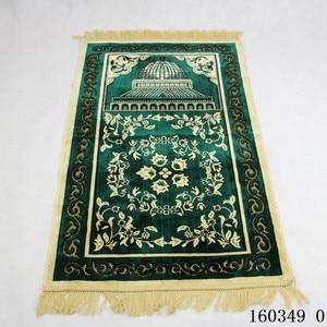 Image 5 - Sztuczny kaszmir muzułmański mata 70x110cm arabski islamski dywanik modlitewny wysokiej klasy ceremonia koc kult dywan Dropshipping dywan