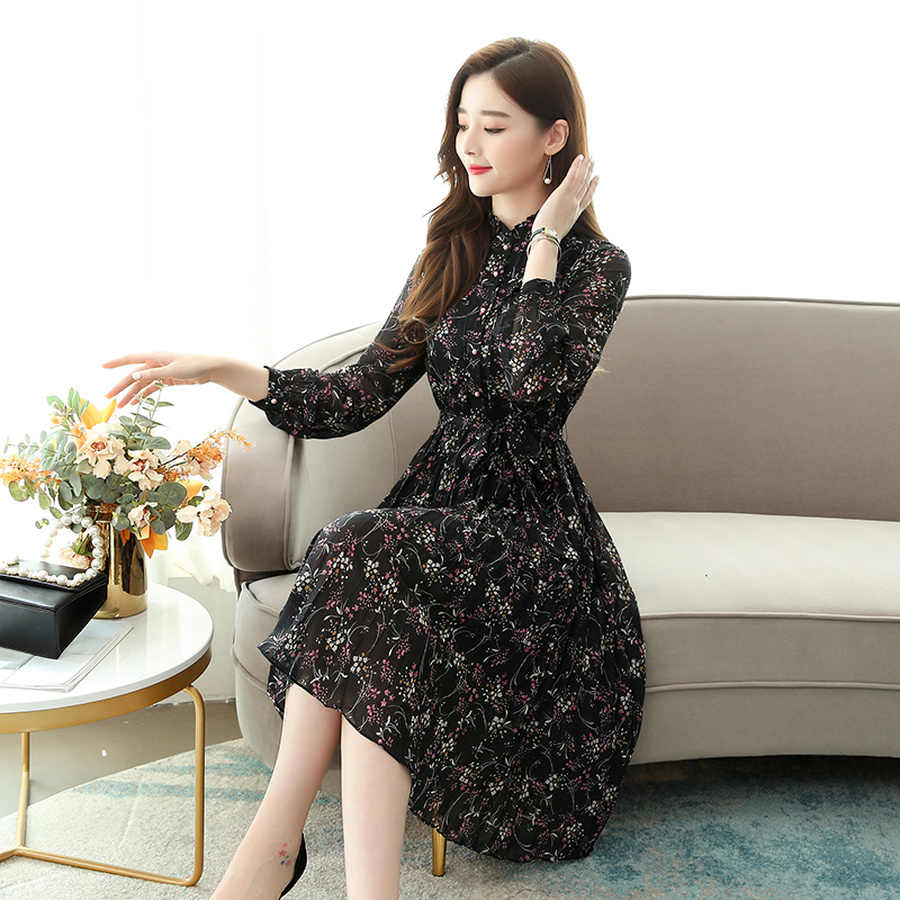 Осень Зима 2XL плюс размер платье с длинным рукавом с принтом 2019 винтажное женское шифоновое платье миди с цветочным принтом элегантные женские вечерние платья