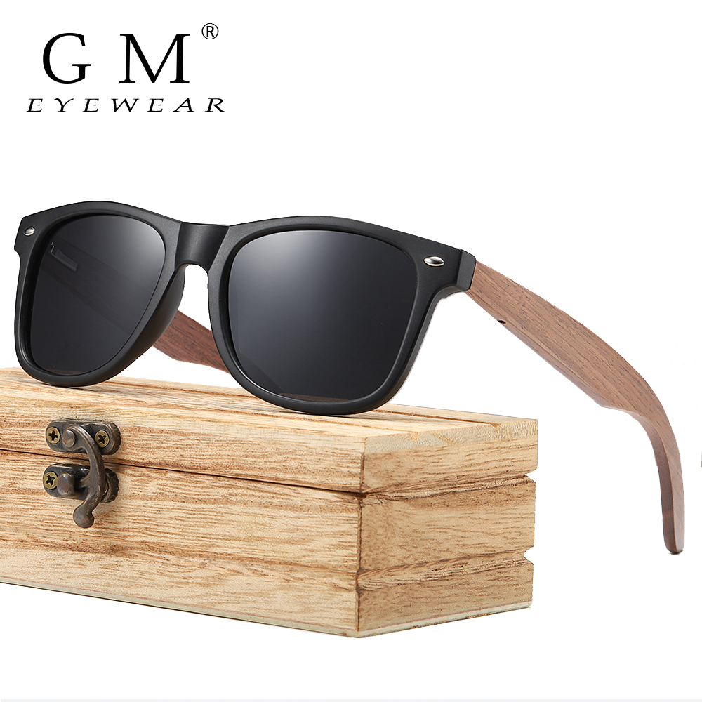 GM Men's Sunglasses Walnut Wooden Polarized Women Frame Brand S7061h Square Oculos-De-Sol