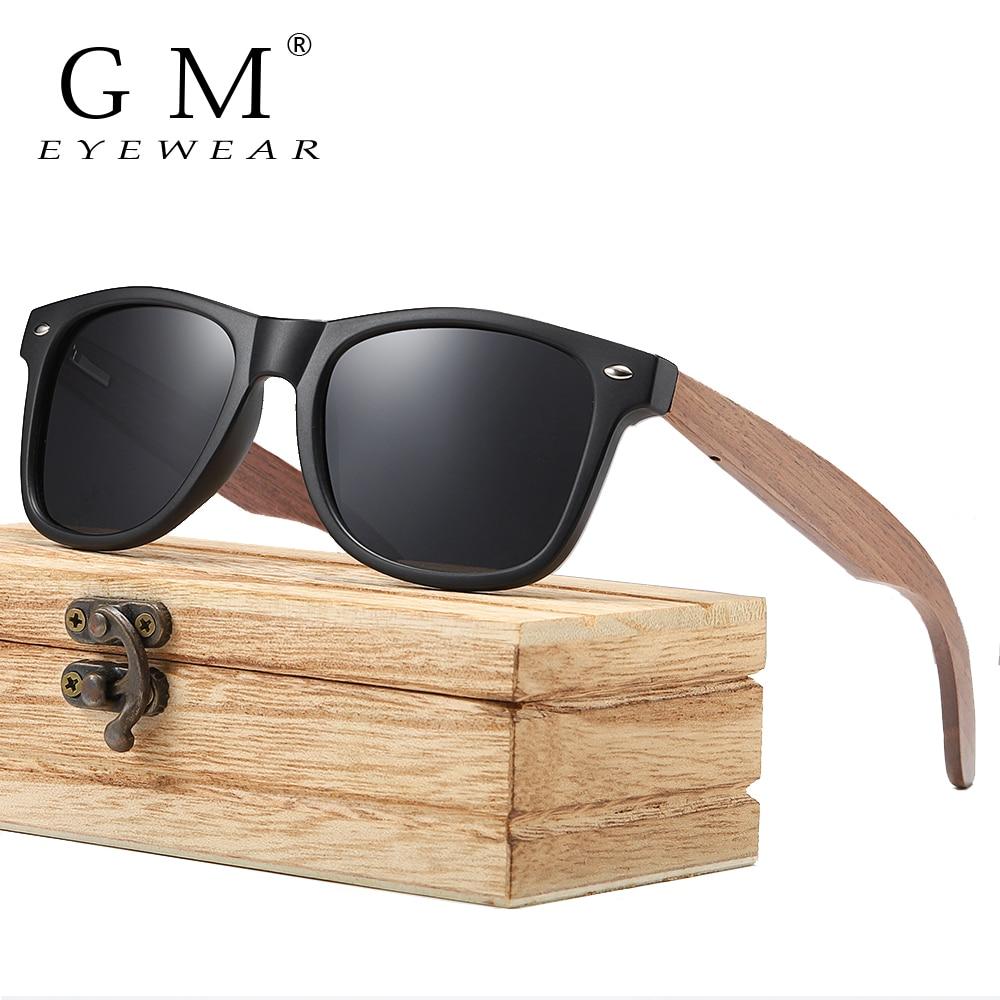 GM Brand Walnut Wooden Polarized Men's Sunglasses Square Frame Sun glasses Women Sun glasses Male Oculos de sol Masculino S7061h