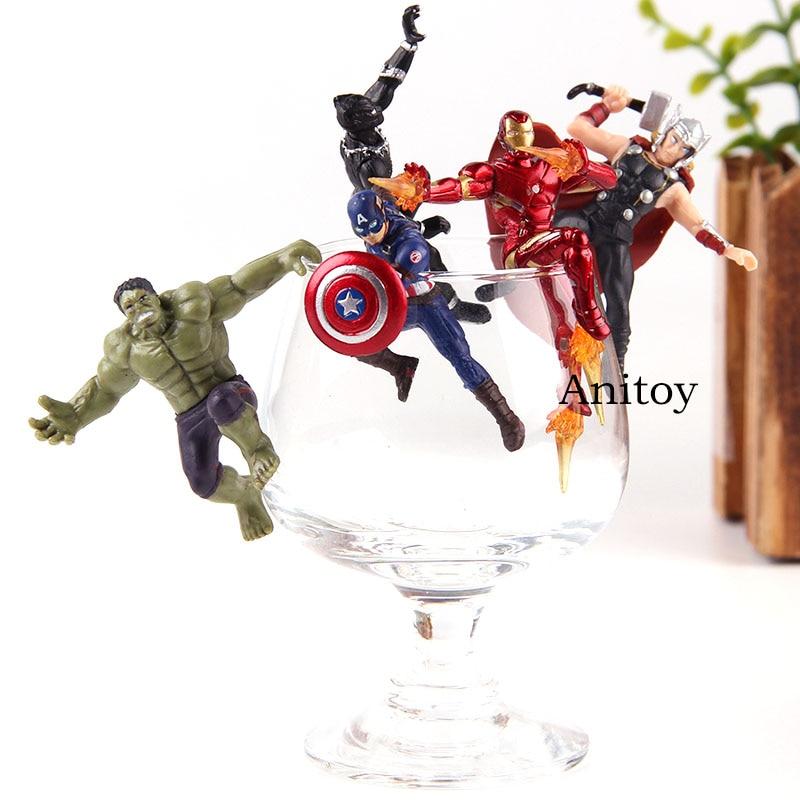5 Pcs//Set Putitto Series Marvel Heroes Iron Man Hulk Thor PVC Figure Model Toys